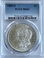 1884-O MORGAN SILVER DOLLAR | PCGS MINT STATE 62 | NEW ORLEANS | 90 SILVER