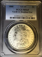 1888 P PCGS MINT STATE 65 VAM 11 DOUBLED EAR, TOP 100 MORGAN SILVER DOLLAR