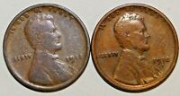 1918-P-S LINCOLN WHEAT EARS PENNIES, SET OF 2 COINS C5