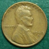 1948 D LINCOLN WHEAT CENT, CIRCULATED, RIM DAMAGE, ACTUAL COIN SHOWN