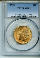 1926 $10 INDIAN GOLD EAGLE PCGS MS63   SUPER COIN