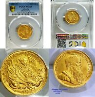 ALBANIA 20 FRANGA   GOLD COIN    KM 12   WINGED LION OF ST MARKS   MINTAGE 5053
