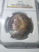 1882 CC RAINBOW TONED MORGAN SILVER DOLLAR MINT STATE 64 NGC MONSTER OBVERSE TONING