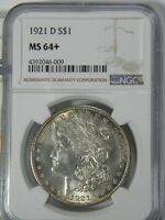 1921-D MORGAN DOLLAR NGC MINT STATE 64 HANDSOME LUSTROUS COIN