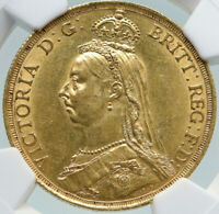 1887 GREAT BRITAIN ANTIQUE UK QUEEN VICTORIA GOLD 2 SOVEREIGN COIN NGC I87386