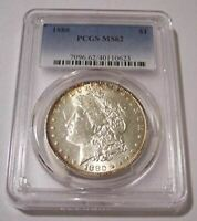 1880 MORGAN SILVER DOLLAR VAM-11A HOT-50 R6 VAMSLAB STICKER REVERSE MINT STATE 62 PCGS