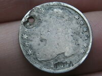 1828-1837 SILVER CAPPED BUST DIME- HOLED