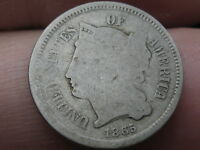 1865 THREE 3 CENT NICKEL- LOWBALL, HEAVILY WORN