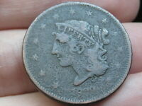 1839 BOOBY HEAD LARGE CENT PENNY, FINE DETAILS