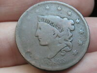 1835 MATRON HEAD LARGE CENT PENNY- HEAD OF 1836, GOOD/VG DETAILS
