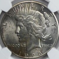 1928 PEACE DOLLAR NGC MINT STATE 62