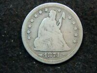 SILVER SEATED LIBERTY QUARTER 1874 S PARTIAL LIBERTY