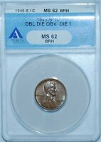 1949 S ANACS MINT STATE 62BN FS-101 DDO DOUBLE DOUBLED DIE OBVERSE LINCOLN WHEAT CENT