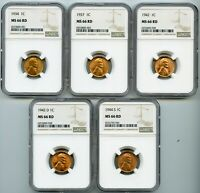 1934,1937,1942,1942-D, & 1944-S NGC MINT STATE 66RD LINCOLN WHEAT 1C LOT