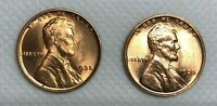 1935 P,D LINCOLN WHEAT CENT SET -  BRILLIANT UNCIRCULATED RED