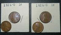 LOT OF FOUR LINCOLN WHEAT PENNIES CENT 1926-D 2, 1913, 1919