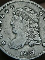 1837 SILVER CAPPED BUST HALF DIME- FINE/VF DETAILS, SMALL 5C