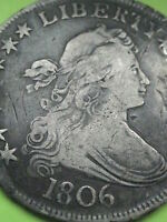 1806 DRAPED BUST HALF DOLLAR- POINTED 6, EXTRA FINE  DETAILS
