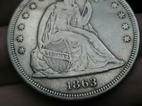 1863 SEATED LIBERTY SILVER DOLLAR- EXTRA FINE  DETAILS,  DATE