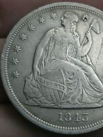 1843 SEATED LIBERTY SILVER DOLLAR- EXTRA FINE  DETAILS