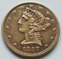 1897 LIBERTY HEAD TYPE 2 $5 DOLLAR CORONET GOLD HALF EAGLE