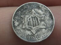 1852 THREE 3 CENT SILVER TRIME- VF/EXTRA FINE  DETAILS