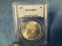 1897 PCGS MINT STATE 63 MORGAN SILVER DOLLAR