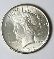 1925 SILVER PEACE DOLLAR AU/BU GREAT DETAILS AND LUSTER 1$ COIN