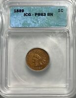 1889 INDIAN HEAD CENT 1C PENNY ICG PROOF 63 BN