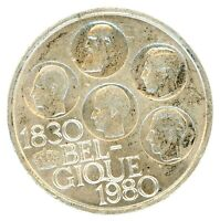 BELGIUM SILVER 1980 500 FRANCS KM 161 IN AU ALMOST UNCIRCULATED