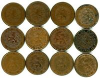 NETHERLANDS LOT OF 12 DIFFERENT 1/2 CENT COINS 1885   1940