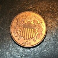 1864 TWO CENT BU RB RED/BROWN