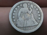 1857 P SEATED LIBERTY SILVER DIME- GOOD DETAILS
