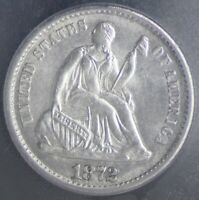 1872 SEATED LIBERTY HALF DIME ICG MINT STATE 64