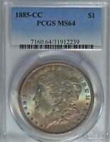 1885-CC MORGAN DOLLAR PCGS MINT STATE 64 MULTI-COLOR TONING   PJ616