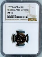 1997 CANADA NGC MINT STATE 66 UNCIRCULATED SET ISSUE DIME 10C ONLY 4 EXIST