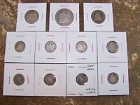 LOT OF  11  LIBERTY SEATED COINS. 50C 25C 10C AND HALF DIMES