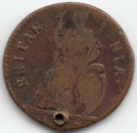 1674 GREAT BRITAIN FARTHING   HOLED