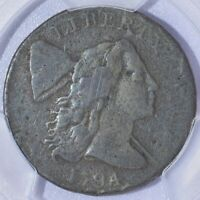 1794 HEAD OF 74 LIBERTY CAP LARGE CENT - PCGS VG DETAILS -