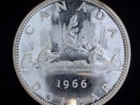1966 CANADA 'LARGE BEADS' SILVER DOLLAR COIN