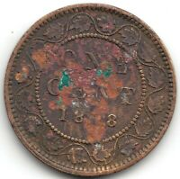1858 CANADA ONE CENT   CORRODED