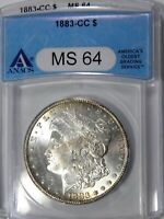 1883-CC MORGAN $1 ANACS MINT STATE 64 CHOICE AND BRILLIANT FOR GRADE