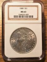 1888 MINT STATE 63 $1 DOLLAR SILVER COIN