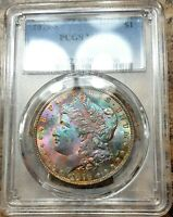 1879 S MORGAN DOLLAR PCGS MINT STATE 64 RAINBOW BAG TONING