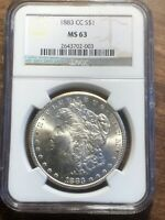 1883 CC MORGAN $1 NGC MINT STATE 63 CARSON CITY SILVER DOLLAR