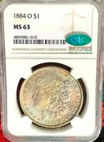 1883-O MORGAN SILVER DOLLAR NGC MINT STATE 63 CAC : ATTRACTIVE SOFT RAINBOW TONING