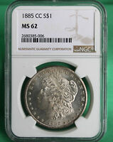 1885 CC MORGAN SILVER DOLLAR SEMI KEY NGC MINT STATE 62 CERTIFIED CARSON CITY MINT COIN