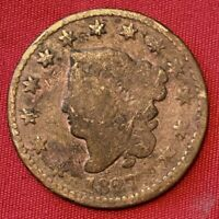 1827 US LIBERTY HEAD LARGE CENT PENNY COIN EARLY AMERICAN ANTIQUE COPPER