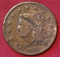 1834 US LIBERTY HEAD LARGE CENT PENNY COIN EARLY AMERICAN ANTIQUE COPPER