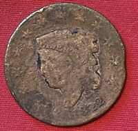 1822VUS LIBERTY HEAD LARGE CENT PENNY COIN EARLY AMERICAN ANTIQUE COPPER